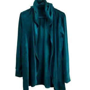 Cuddl Duds Green Open Front Velour Jacket